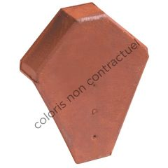 Ridge end piece for angled ridge tile with interlock Burnt Red