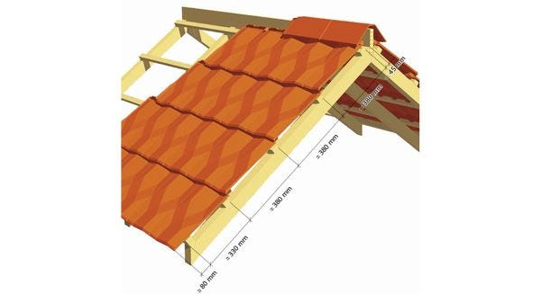 Dimentions for the implementation of the Clay tile DIAMANT of EDILIANS
