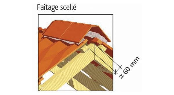 Clay tile DIAMANT of EDILIANS : Laced ridge