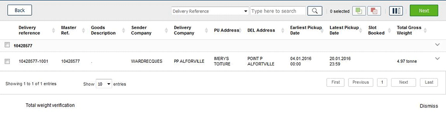 DELIVERIES LISTING - Priority Loading